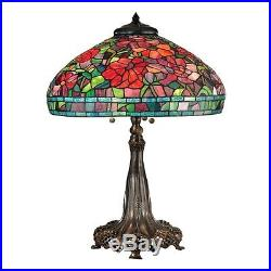 Dale Tiffany Red Peony Table Lamp, Antique Bronze/Verde TT15104