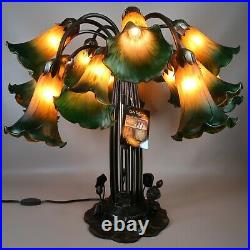 Dale Tiffany Tulip Table Lamp Lily Pad Base 15 Arms Art Glass Shades Amber Green