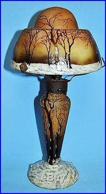 Daum Nancy Cameo Table Lamp Winter Enamel Woodland Paysage D'hiver Circa 1910