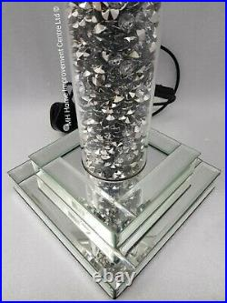 Diamond Crush Crystal Round Pillar Sparkly Mirrored Table Lamp Black Shade