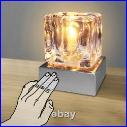 Dimmable Touch Table Light Glass Ice Cube Bedside Study Office Dimmer Lamp M0112