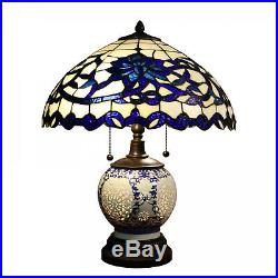 Double-Lit Tiffany Style Reading Accent Victorian Stained Glass Table Lamp