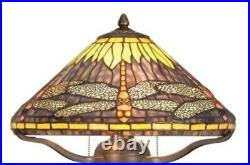 Dragonfly 16 Antique Bronze Tiffany Style Table Lamp 60W with Dual Pull Chain