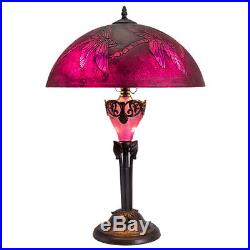 Dragonfly Accent Table Lamp with Purple Etched Glass 15in Tall with 24in Shade