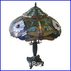 Dragonfly Lamp Stained Glass Art Pull Chain 27 Table Lamps LIght NEW