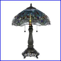 Dragonfly Table Lamp Yellow Blue Tiffany Style Bronze Base Stained Glass Accent