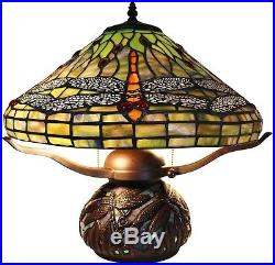Dragonfly Tiffany Style Table Lamp Stained Glass Desk Art Deco Mission Craftsman