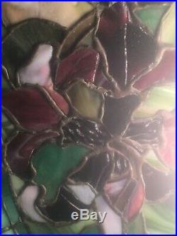 Duffner Kimberly Chandelier Lamp, Leaded, Slag, Stained Glass Shade, Handel Lamp Era