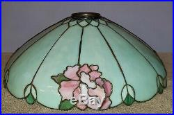 Duffner & Kimberly Hampshire Leaded Slag Stained Glass Table Lamp Handel Era