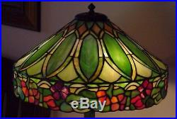 Duffner & Kimberly Leaded Slag Stained Glass Handel Tiffany Era Lamp