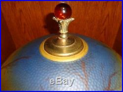 Early 20th. C Reverse Painted Glass Shade Table Lamp, Works, Antique/Vintage