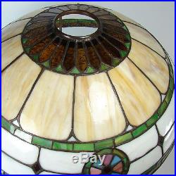 Electric Table Lamp with Pinwheel and Diamond Leaded Glass Shade 1920's