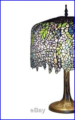 Elegance Design Tiffany Wisteria 27 In. Bronze Table Lamp Tree Trunk Base New