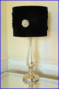 Elegance Pair of Large Table Lamps 56cm Mirrored Base Black Velvet shade