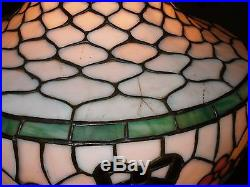 Elegant Chicago Mosaic Lamp Signed Leaded Glass Original Fish Scale Shade