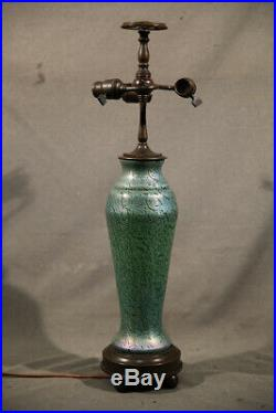 Emerald Green Tiffany Studios leaded Glass Rare Table Lamp with Turtle Back