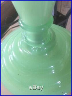 Enchanting Vintage 1930s Jadeite Lamp Milky Green Glass