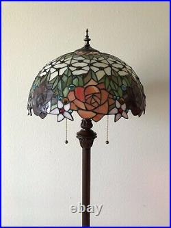 Enjoy Brand Tiffany Floor Lamp Rose Flower Stained Glass Antique Vintage H64