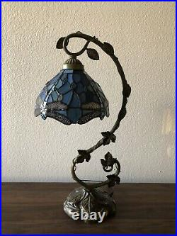 Enjoy Tiffany Style Dragonfly Sea Blue Stained Glass Table Lamp W11H20.5 Inch