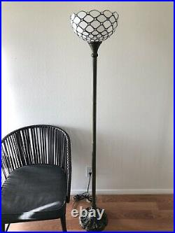 Enjoy Tiffany Style Floor Lamp Crystal Bean White Stained Glass Vintage 66H12W
