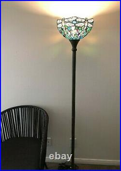 Enjoy Tiffany Style Floor Lamp Green Blue Stained Glass Dragonfly Antique 66H