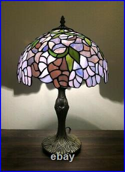 Enjoy Tiffany Table Lamp Stained Glass Purple Flower Antique Vintage W12H19