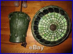 Ephraim Pottery 7 Handle Grueby Style Tiffany Turtleback Leaded Glass Style Lamp