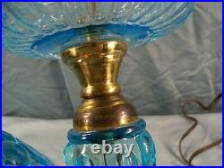 Fenton Made for L. G. Wright Blue Glass Moon & Stars Electric Table Lamp 21 Tall
