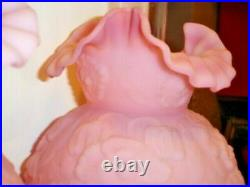 Fenton PINK CUSTARD GLASS FLOWER POPPY, GWTW lamp (1-2)