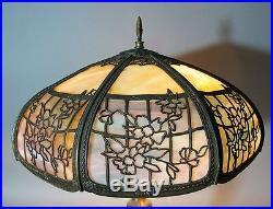 Fine & Large ART NOUVEAU Slag Glass Table Lamp with 20 Shade c. 1915 antique