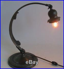 Fine Signed Handel Desk Piano Lamp Sunset Pattern c. 1910 antique slag glass