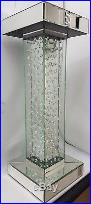 Floating Crystal Silver Mirrored Pillar Pedestal End Table Lamp Table