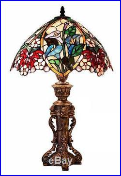 Floral Table Lamp Stained Glass 23H Light Lamps NEW