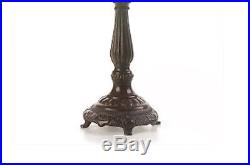 Floral Tiffany Style Stained Glass Lamp Set of Two (2) Table Desk Lighting