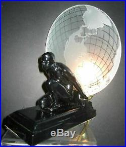 Frankart Sarsaparila art deco Atlas withthe glass earth shade black lamp USA made