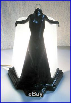 Frankart butterfly nymph in black art deco table lamp metal and glass USA made