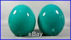 French Egg Lamp PAIR Blue Cased Glass Mid Century Modern Boudoir Table Light 70s