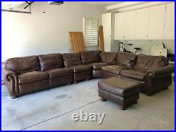 Furniture, sofa, sectional, couch, coffee table, lamp, leather, fabric, glass