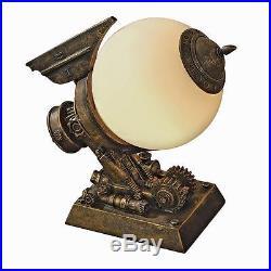 Futuristic Fantasy Steampunk Airship Table Lamp Glass Orb Illuminated Sculpture