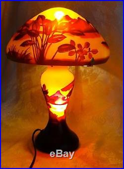 Galle Cameo Glass Table Lamp Signed Palm Tree/Mountain Motif 14 Tall Estate