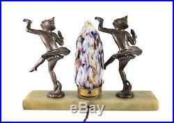 Gilt Bronze Marbled Glass Table Lamp on Alabaster Base, Art Deco c1930 Pierrots
