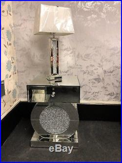 Glass Crushed Crystals 1 Drawer Mirrored Bedside Cabinet Lamp Table