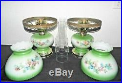 Gone With The Wind Pair Vintage 3-way Green Milk-glass Display Hurricane Lamps