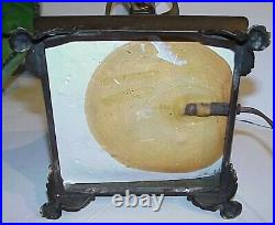 Gorgeous! Antique Arts & Crafts Mission Style Metal Slag Glass Shade Table Lamp