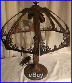 Gorgeous Large Antique Slag Glass Panel Table Lamp Ornate Design