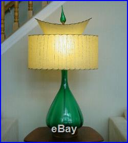 Gorgeous Vintage Blenko Green Glass Table Lamp