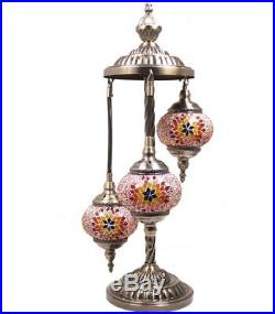HAND MADE, TURKISH, MOROCCAN MOSAIC LAMP, Glass Table 3 Lamp LIGHT, Home Decor, GIFT