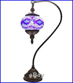 HAND MADE TURKISH, MOROCCAN MOSAIC LAMP SWAN NECK GLASS Lamp, Home Decor, Lamp