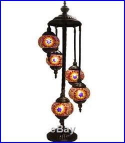 HIGH QUALITYTurkish Moroccan Mosaic Shimmer Handmade Floor Lamp 5 Medium Globes