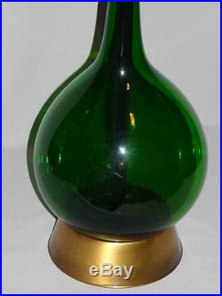 HUGE 53 Hollywood Regency Mid-Century Hand Blown Green Glass Table Lamp MARBRO